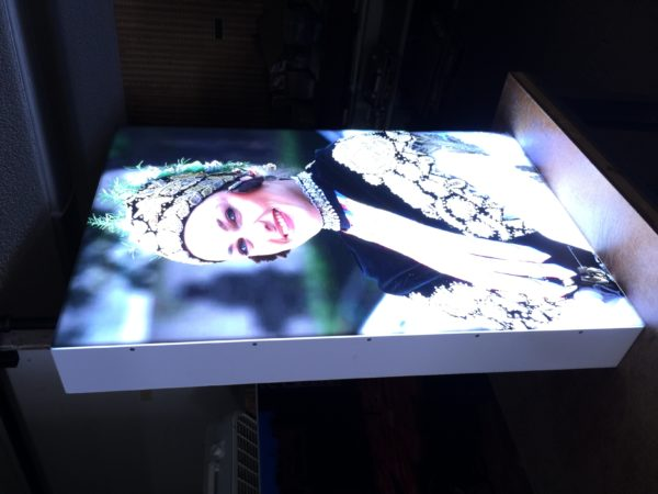 ABS plastic light box with UV printed acrylic face
