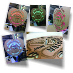 Laser-cut wood with illuminated light guide and oscillating LED's for signage (great gifts and logos)